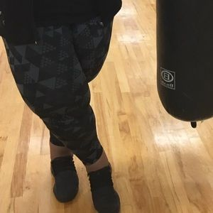 Charcoal and black workout pants